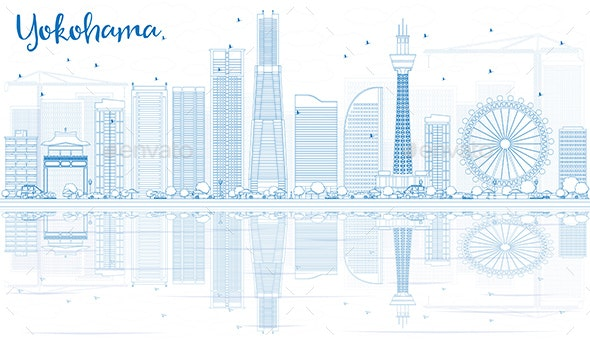 Outline Yokohama Skyline with Blue Buildings and Reflections - Buildings Objects