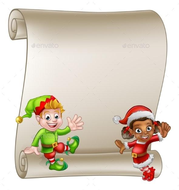 Christmas Elf Cartoon Characters Scroll Sign - Christmas Seasons/Holidays