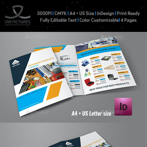 Stationery Products Catalog Bi- Fold Brochure Template