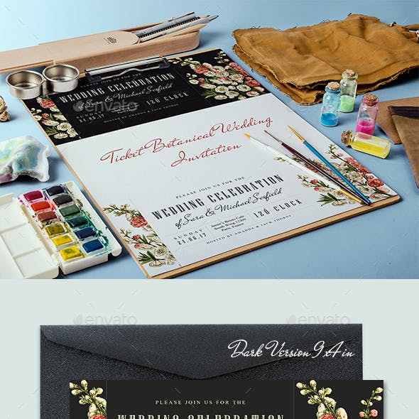 Ticket Botanical Wedding Invitation Card