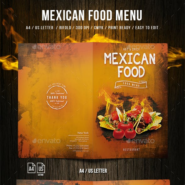 Mexican A4 and US Letter Food Menu