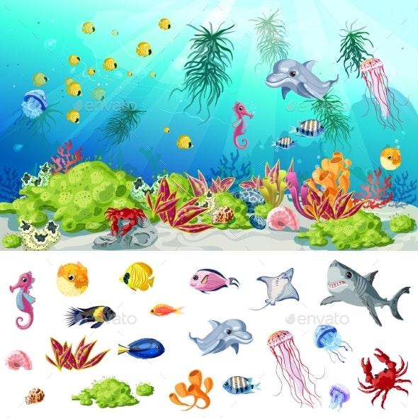 Cartoon Sea and Ocean Life Concept - Animals Characters