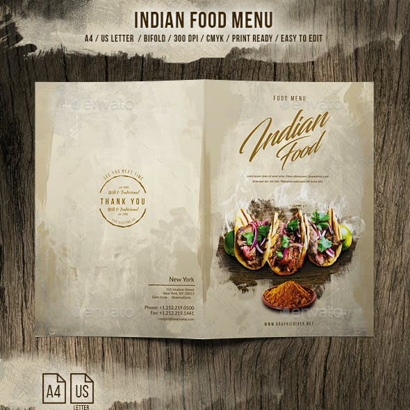 Indian A4 and US Letter Food Menu