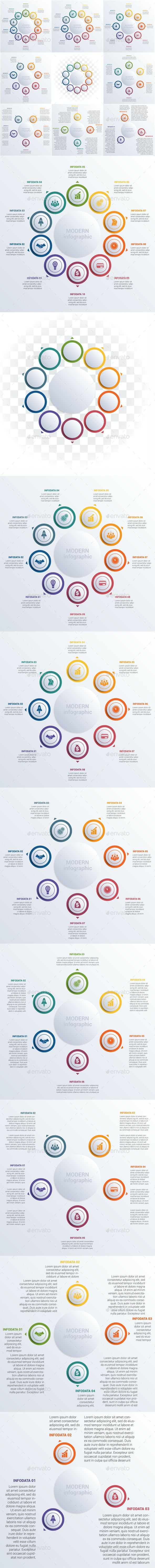 Modern Infographic diagram business steps for 3,4,5,6,7,8,9,10 options. - Infographics
