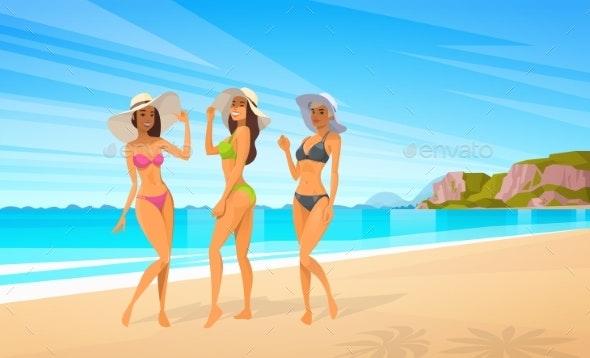 Three Woman In Bikini On Beach - People Characters