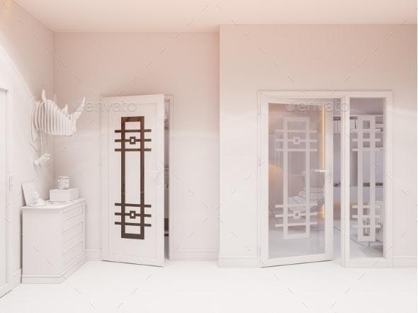 3D Illustration Hall Interior Design in Classic - Architecture 3D Renders
