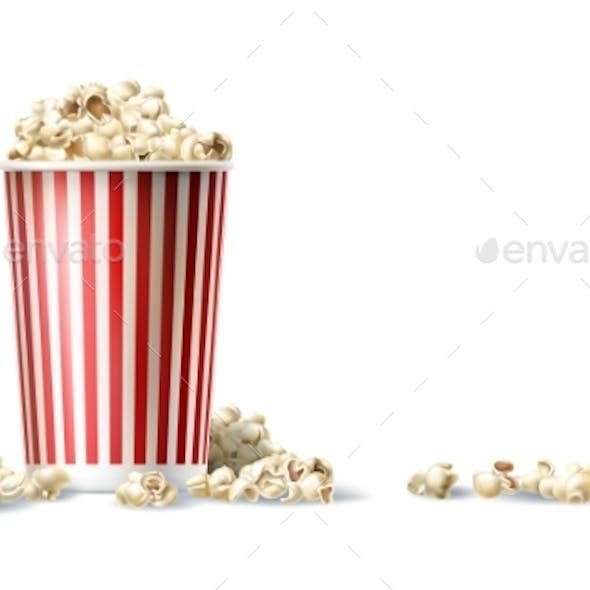 Red and White Cardboard Bucket with Popcorn