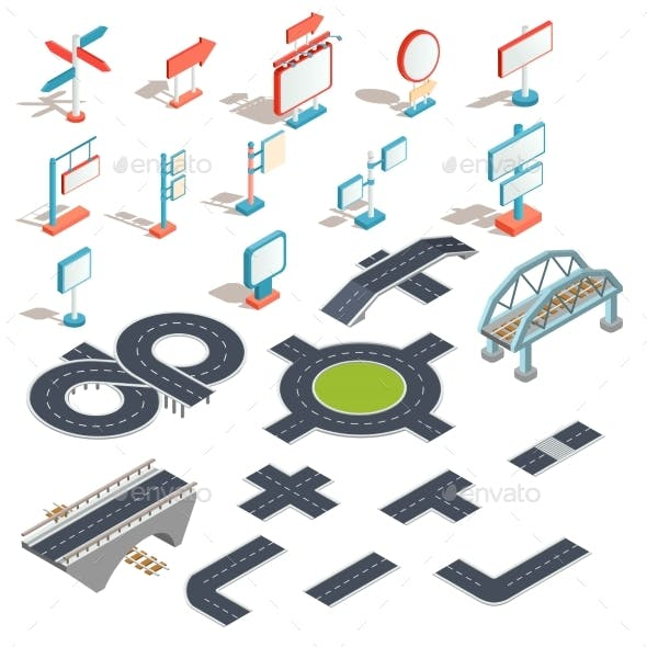 Vector Isometric Icons of Billboards and Advertising