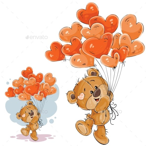 Brown Teddy Bear Holding Red Balloons