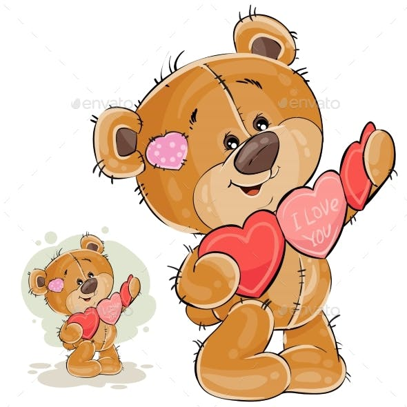 Brown Teddy Bear Holding Garland of Hearts