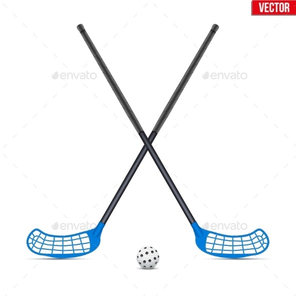 Symbol of Ball and Sticks for Floorball - Sports/Activity Conceptual