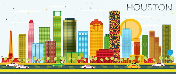 Houston Skyline with Color Buildings and Blue Sky. - Buildings Objects