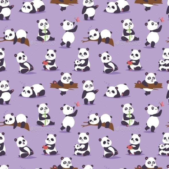 Panda Bear Character Different Pose Vector - Animals Characters