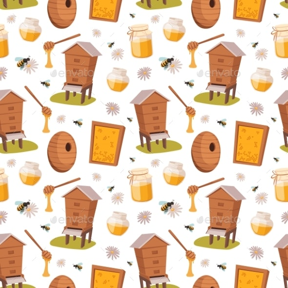 Apiary Honey Bee Houses Seamless Pattern Vector - Miscellaneous Vectors