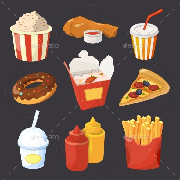 Vector Collection of Fast Food Pictures in Cartoon - Food Objects