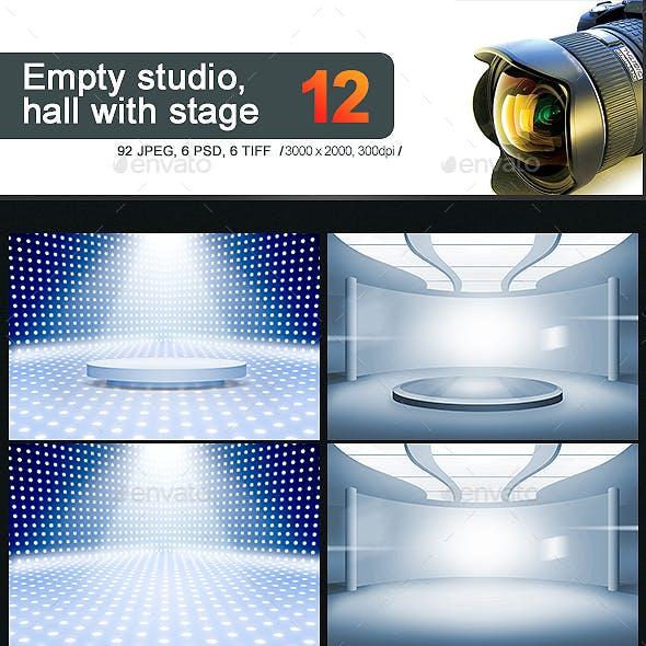 12 Empty Studio & Hall Backgrounds