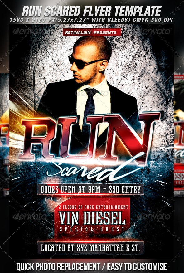 Run Scared Flyer Template - Clubs & Parties Events