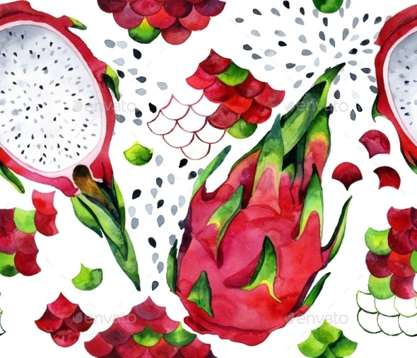 Seamless Watercolor Pattern with Dragon Fruits and - Patterns Backgrounds