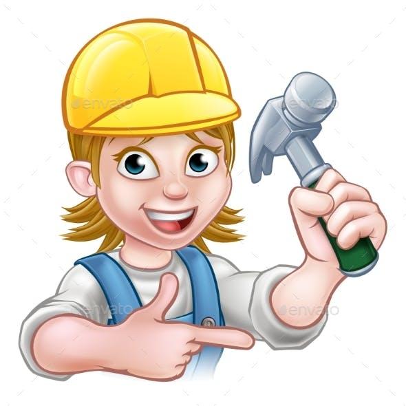 Female Carpenter Woman Cartoon Character