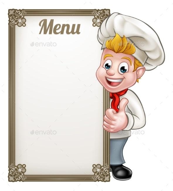 Cartoon Chef or Baker Character Menu - People Characters