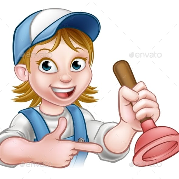 Woman Plumber Holding Plunger