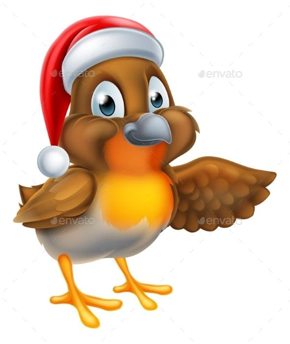 Cartoon Christmas Robin Bird - Animals Characters