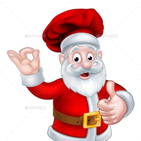 Santa Chef Christmas Cartoon Character