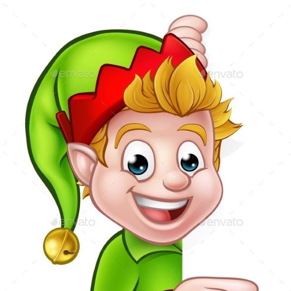 Pointing Christmas Elf Cartoon Character