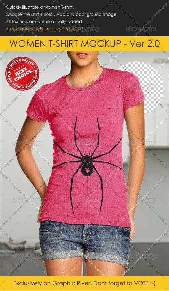 Women T-Shirt Mock-up - T-shirts Apparel