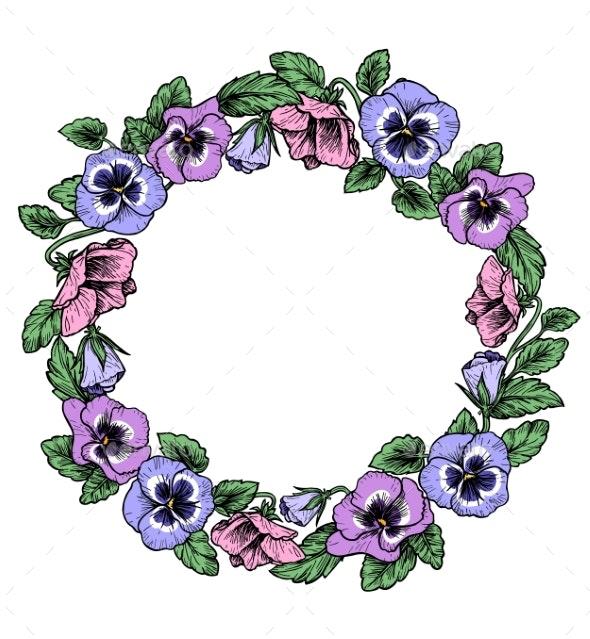 Frame of Vintage Botanical Flowers - Borders Decorative
