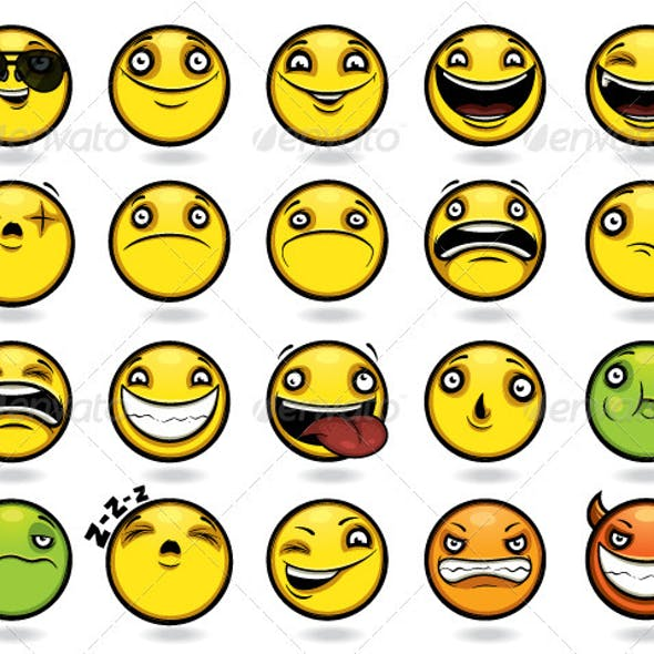Set of twenty funny emoticons