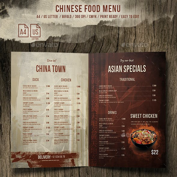 Chinese A4 and US Letter Food Menu