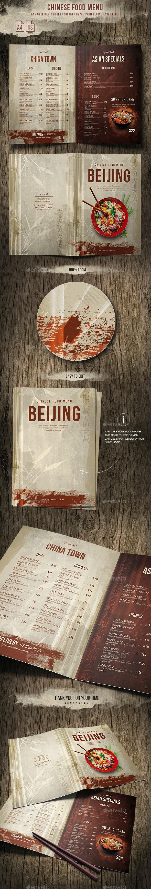Chinese A4 and US Letter Food Menu - Food Menus Print Templates