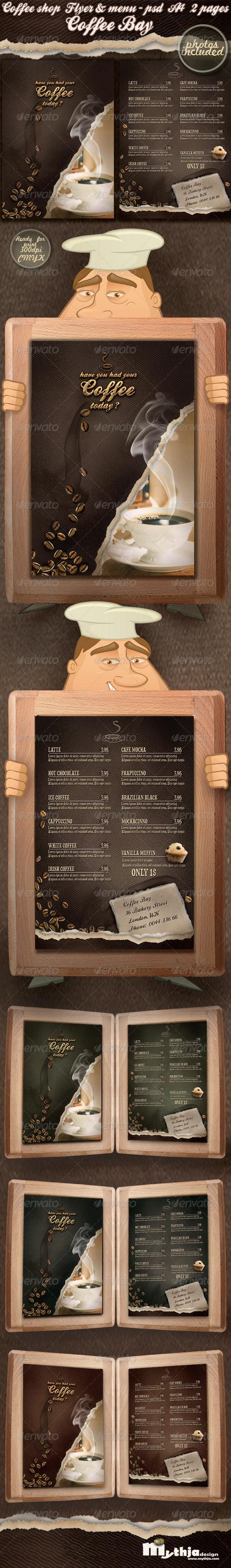 Coffee shop flyer & menu - photos included  - Food Menus Print Templates