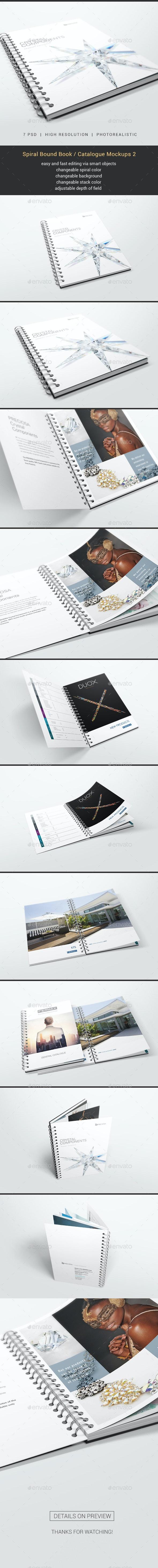 Spiral Bound Book / Catalogue Mockups 2 - Books Print