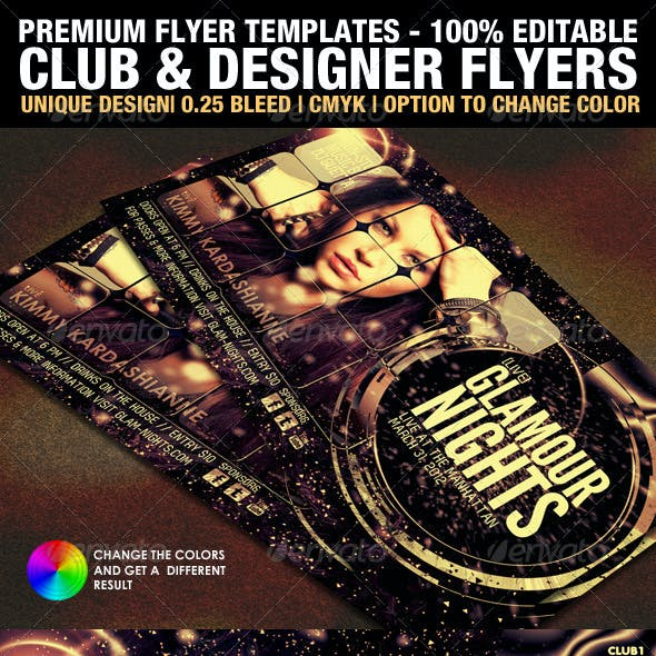 Club & Design Magazine Style Flyer Templates Vol.3
