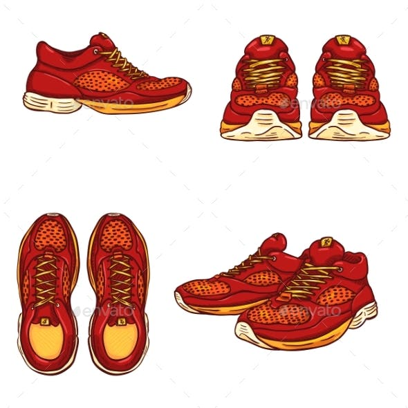 Vector Set of Cartoon Running Shoes