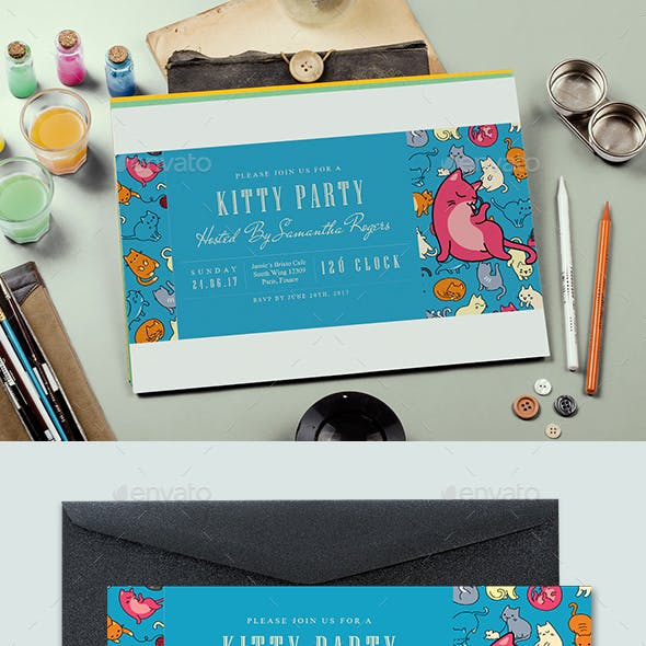 Ticket Kitty Party Invitation Card