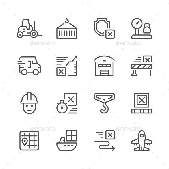 Set Line Icons of Logistics