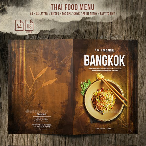Thai A4 and US Letter Bifold Food Menu