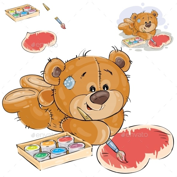 Brown Teddy Bear Paints - Animals Characters