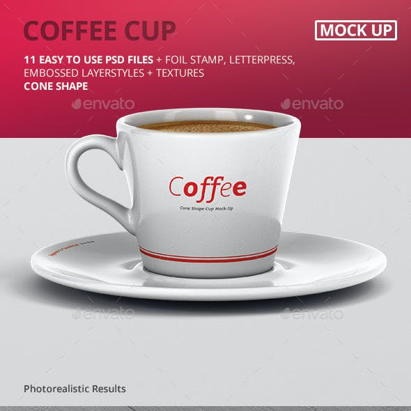 Coffee Cup Mockup - Cone Shape