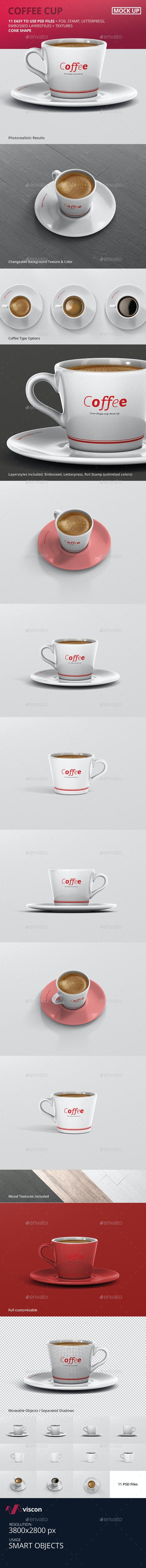 Coffee Cup Mockup - Cone Shape - Logo Product Mock-Ups
