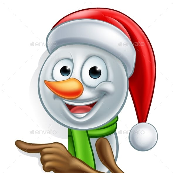 Pointing Cartoon Christmas Santa Hat Snowman