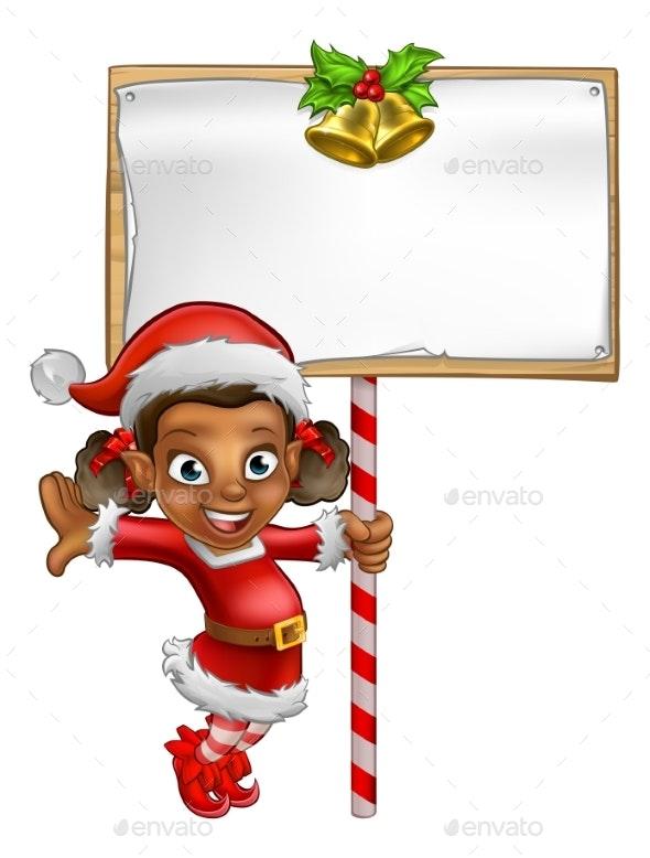 Cartoon Girl Christmas Elf Holding Sign - People Characters