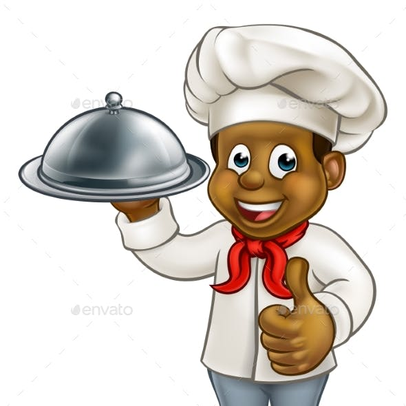 Black Chef Cartoon Character with Platter