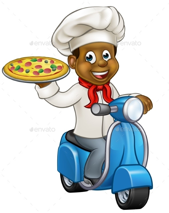 Cartoon Pizza Chef on Delivery Moped Scooter - Food Objects
