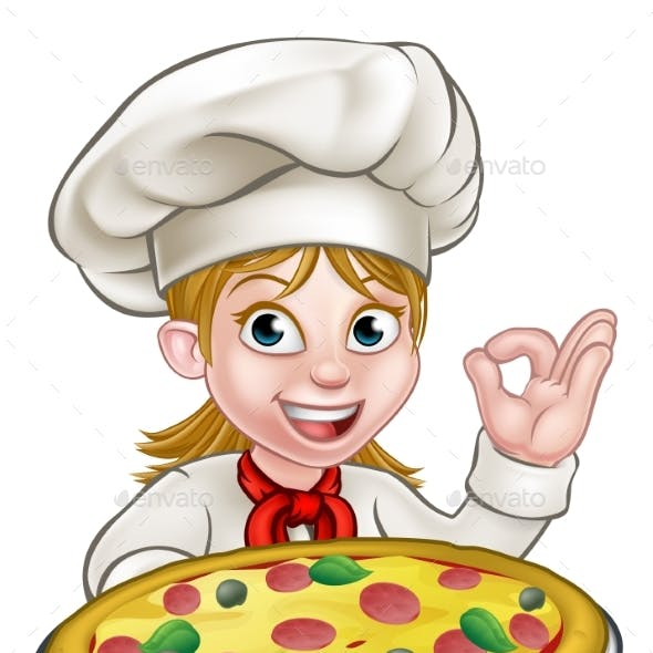 Cartoon Female Woman Pizza Chef