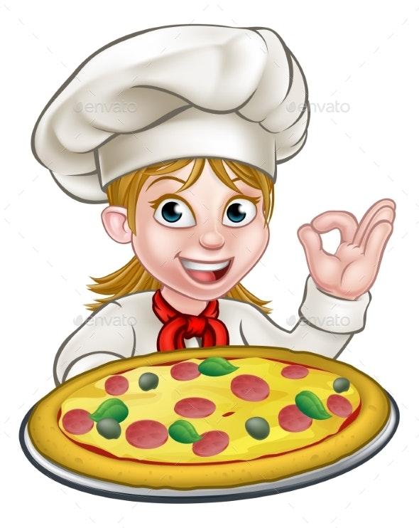 Cartoon Female Woman Pizza Chef - Food Objects