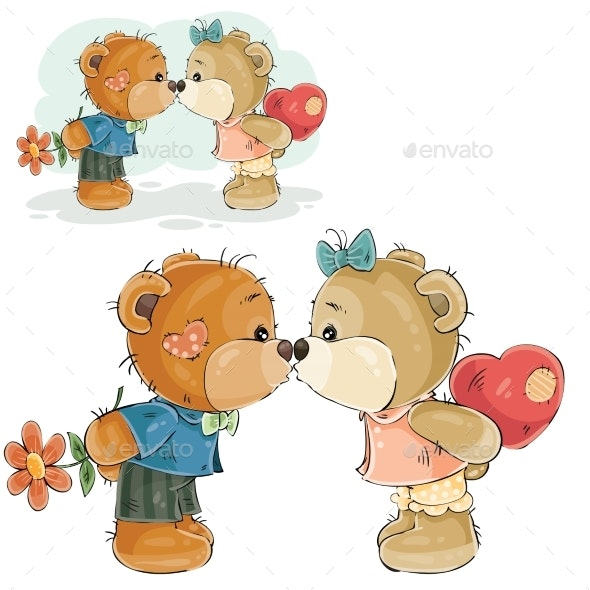 Pair of Brown Teddy Bears Kissing - Animals Characters